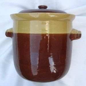 VTG Stoneware Lidded Crock Brown Pottery Arden NC